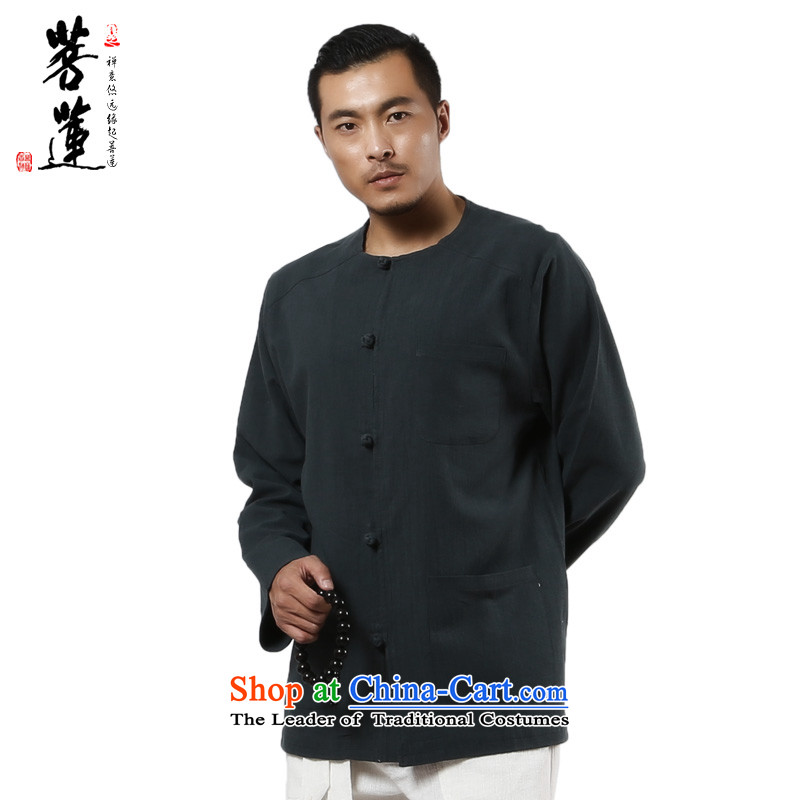 The pursuit of Lin Lin ramie cotton Autumn Chinese Wind Zen Chinese shirt men may deduct 3 bags with dark green shirt?M