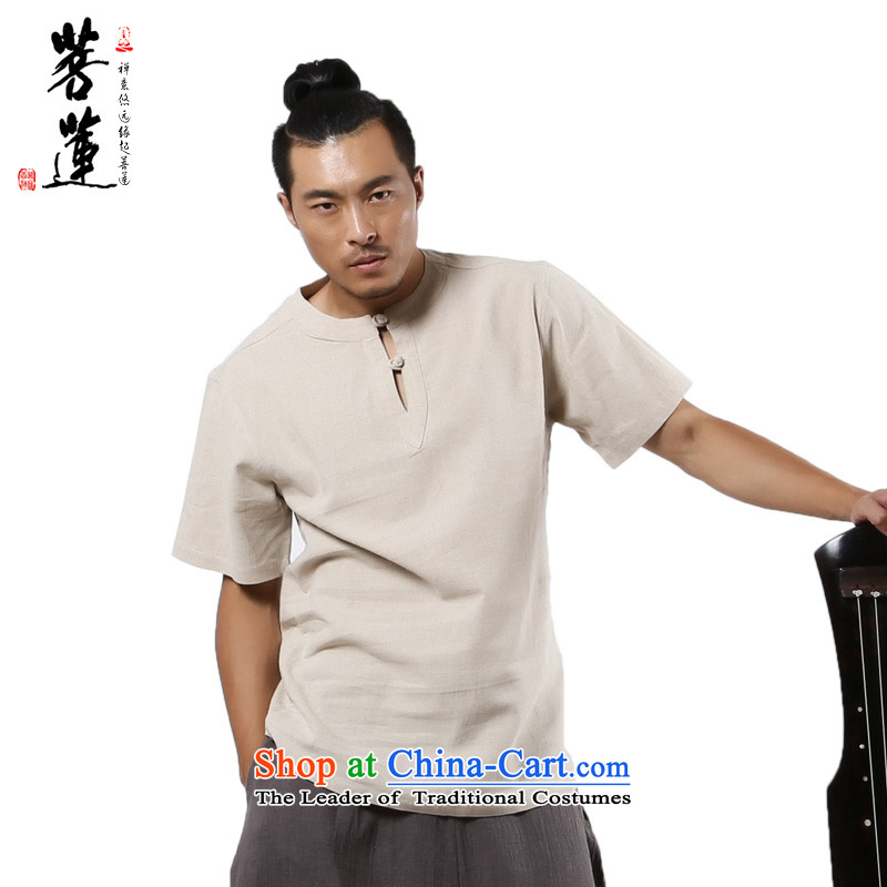 The pursuit of ramie cotton retreat Lin Yi Man Chun Ha General Zen China wind summer buckle Chinese shirt spring and autumn colors jute?XXL