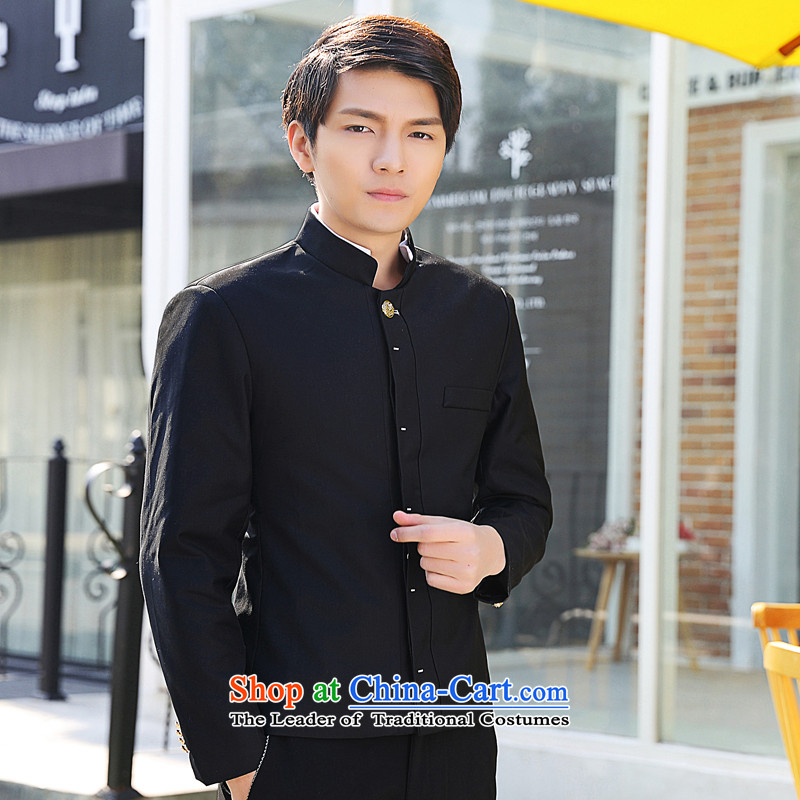 Mrs Rafael Hui 2015 Autumn Carter New Product Version Chinese tunic suit Korean small male and New Men's Mock-Neck Leisure Services Black�M Sau San colleges and universities