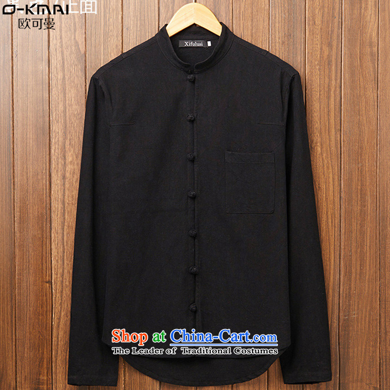 The OSCE to Cayman�15 autumn and winter new date of Men's Mock-Neck small cotton linen shirt China wind up long-sleeved shirt clip linen large leisure shirt male Black燲L