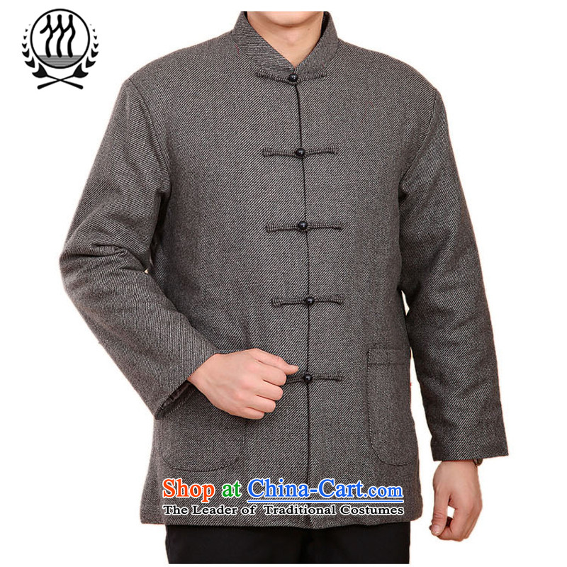 Thre line autumn and winter and genuine men l leisure 茫镁貌芒 Chinese collar manually disc clip cotton linen in Tang Dynasty older solid color collar robe F2046聽L_175 Light Gray