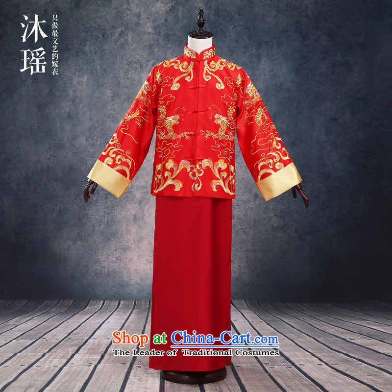 Huang Xiao Ming baby, marriage Soo-wo service Tang Dynasty Chinese ancient ceremonial dress Tang red men large 2 piece robe dark red S-chest 114