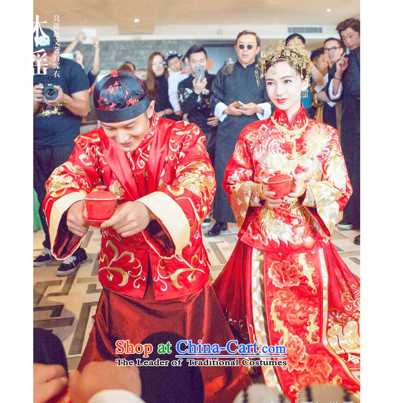 Mr Wong Hiu-ming of the same marriage-soo baby wo service Tang Dynasty Chinese ancient ceremonial dress Tang red men deep red?XS
