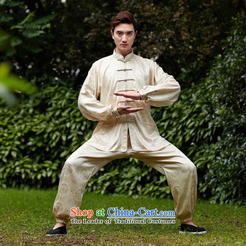 158 Jing men and women's Tang Dynasty Package Tai Chi Kung Fu Netherlands New Service collar ethnic Han-Tang Gown?- 1 men?XXXL Beige