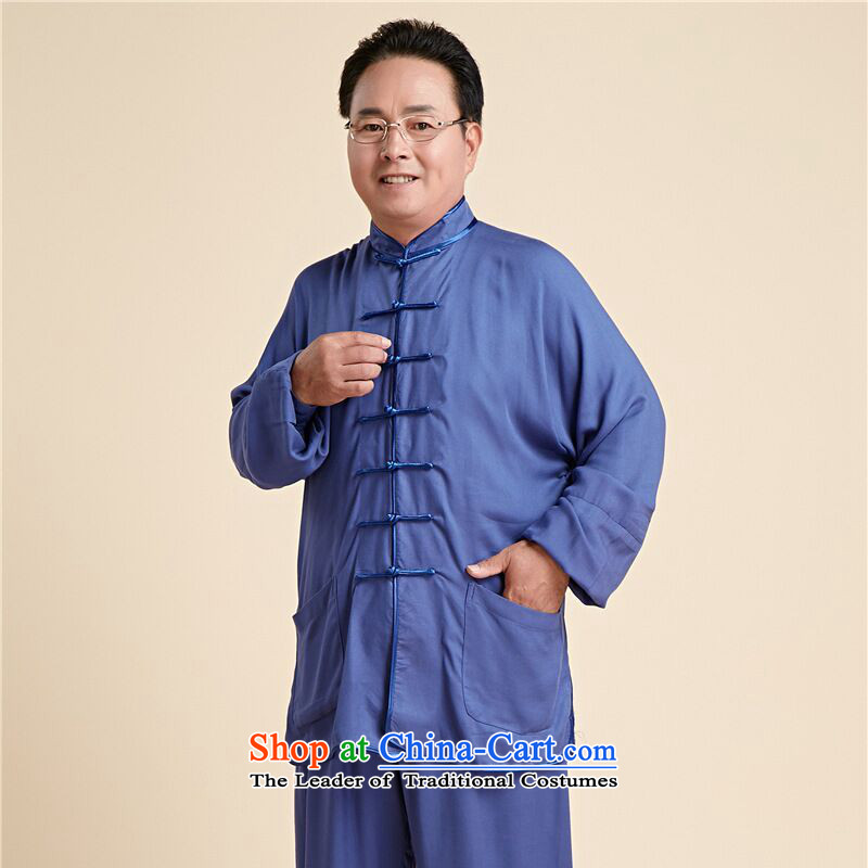 158 Jing new taxi service men and women fall Tai Chi Kit older taijiquan costumes and exercise clothing聽- 14 men blue聽XXL