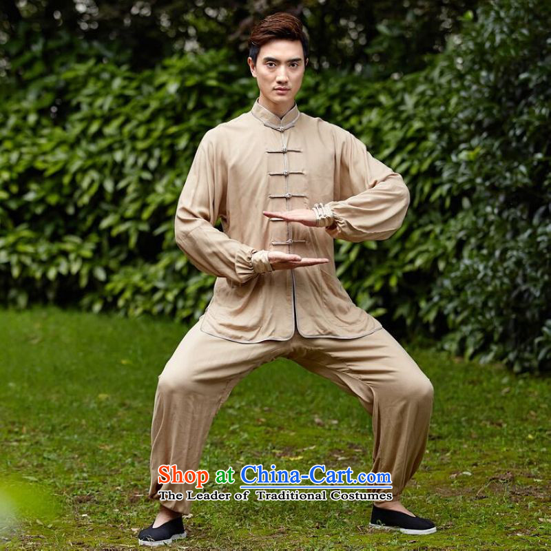 158 Jing new taxi service men and women fall Tai Chi Kit older taijiquan costumes and exercise clothing�- 1 men beige�XXL