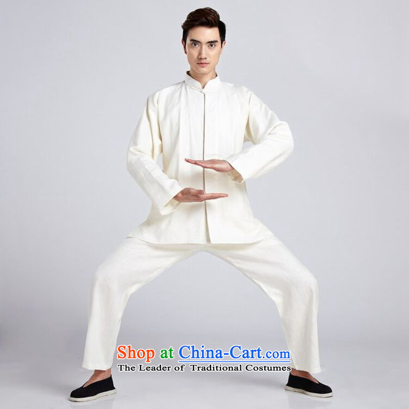 158 Jing Tai Chi service men Kit Chinese tunic new collar ethnic Han-Tang dynasty , white XXXL -6