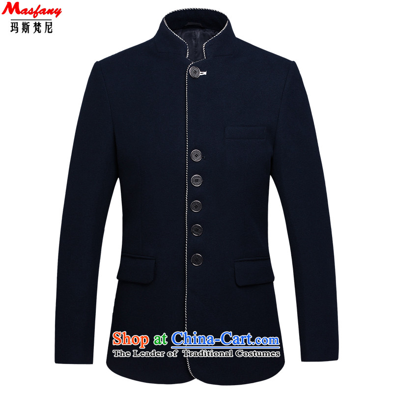 Thomas Van Gogh and Tang dynasty Chinese tunic Chinese Men's Mock-Neck Jacket coat single row detained gross national costumes and cloak?�88 Summer blue燲XL