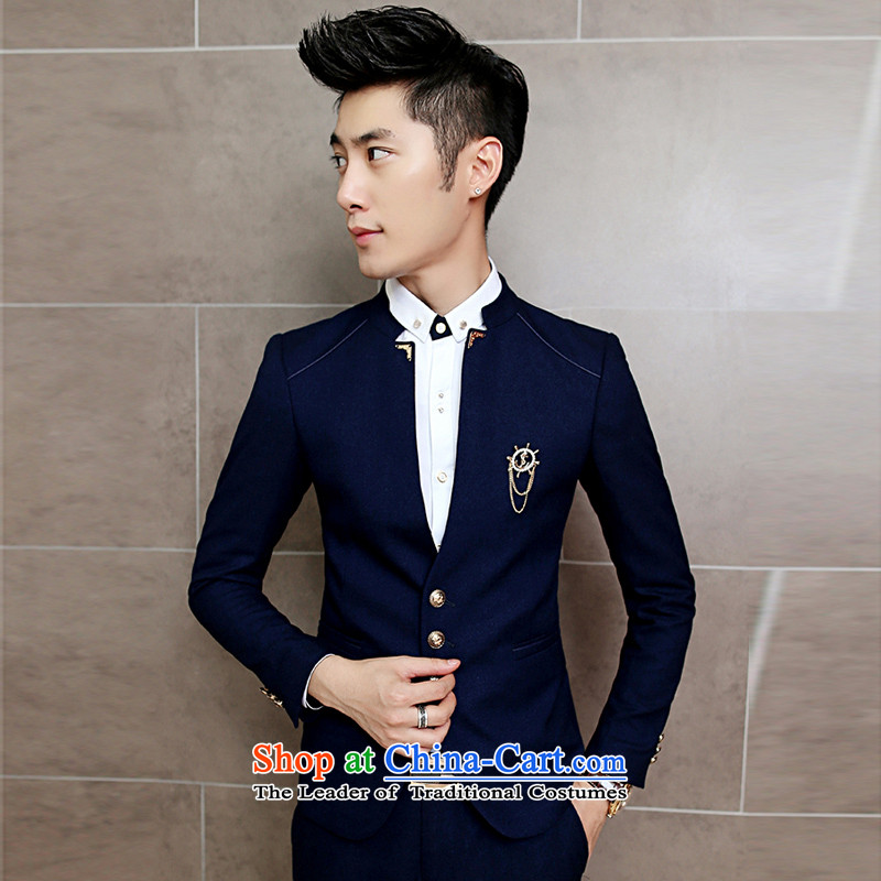 Eslite autumn and winter 2015 New China collar leisure single piece suit X05 dark blue?L