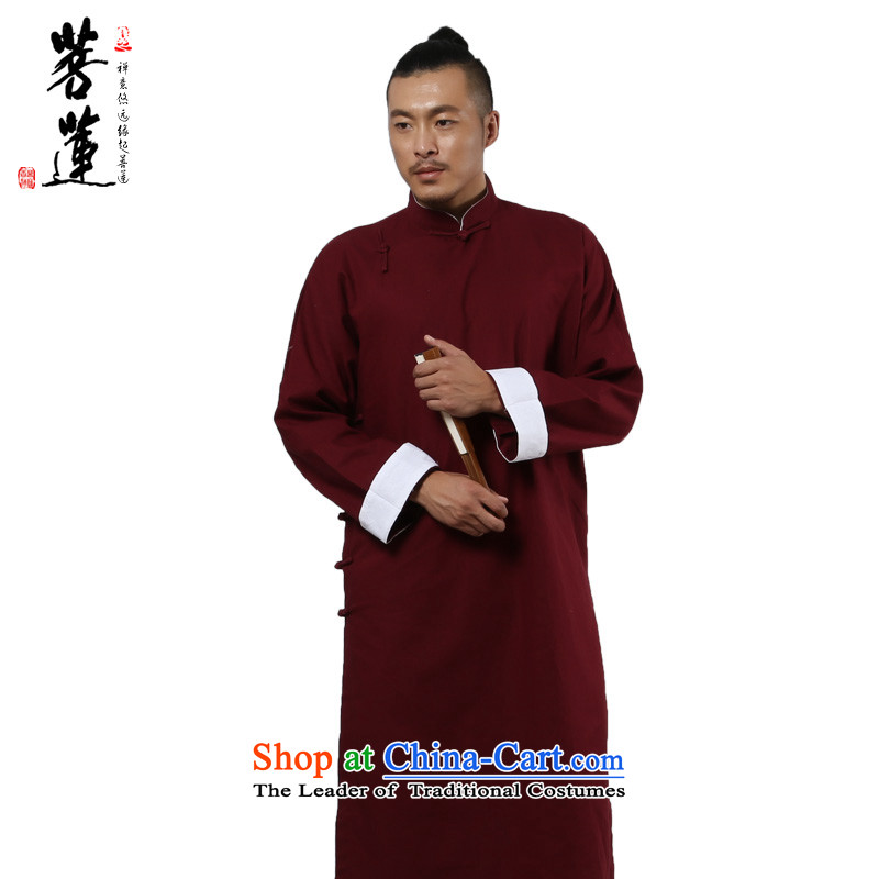 On Lin cotton linen flax zen retro Tang dynasty scholar, the China wind traditional comic dialogs of the Republic of Korea, Mr. long gown use Tibetan Red?XXL