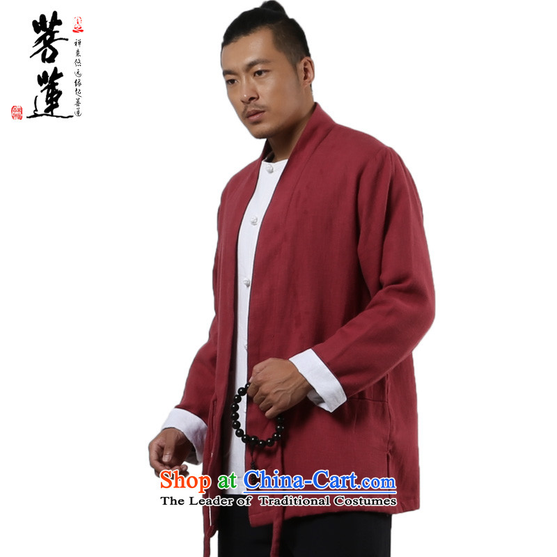 The pursuit of long-sleeved linen Lin winter cotton linen zen retro Tang jackets China wind jacket from Han to Tang Wai jacket light chestnut horses?L