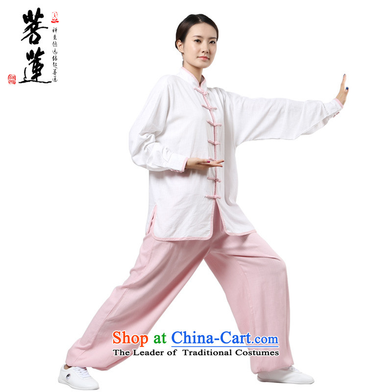The pursuit of new products during the spring and autumn long-sleeved Lin cotton linen flax meditation Tai Chi practitioners martial arts services serving morning kit with pink燤