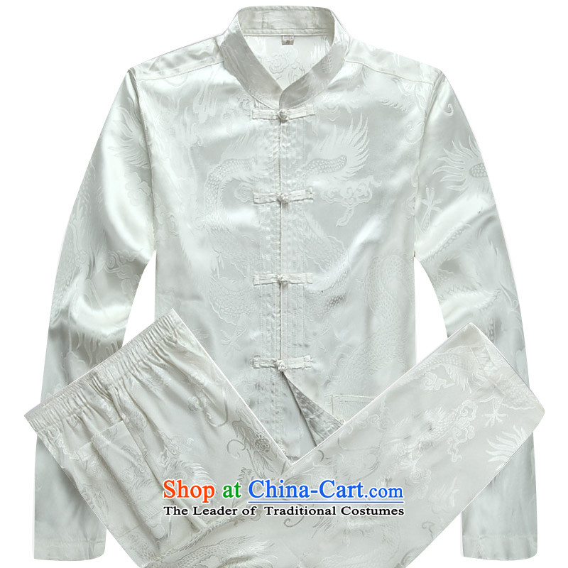 China wind men Tang dynasty male long-sleeved sweater Chinese Han-ball-services white shirt L