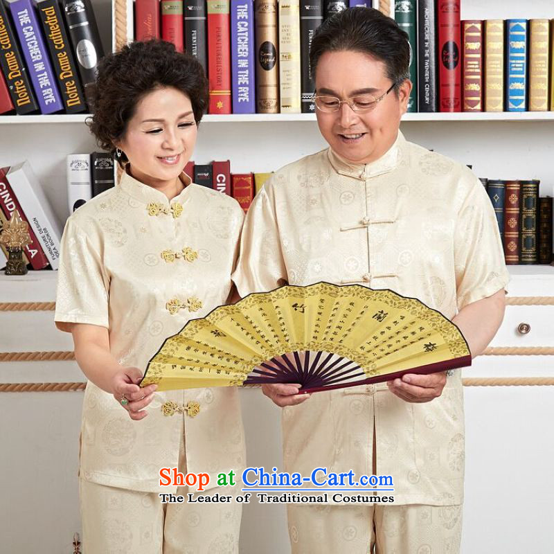 158 Jing in Tang Dynasty older men and women's couples the spring and fall with short-sleeved shirt damask kit kung fu tai chi service men?XXL