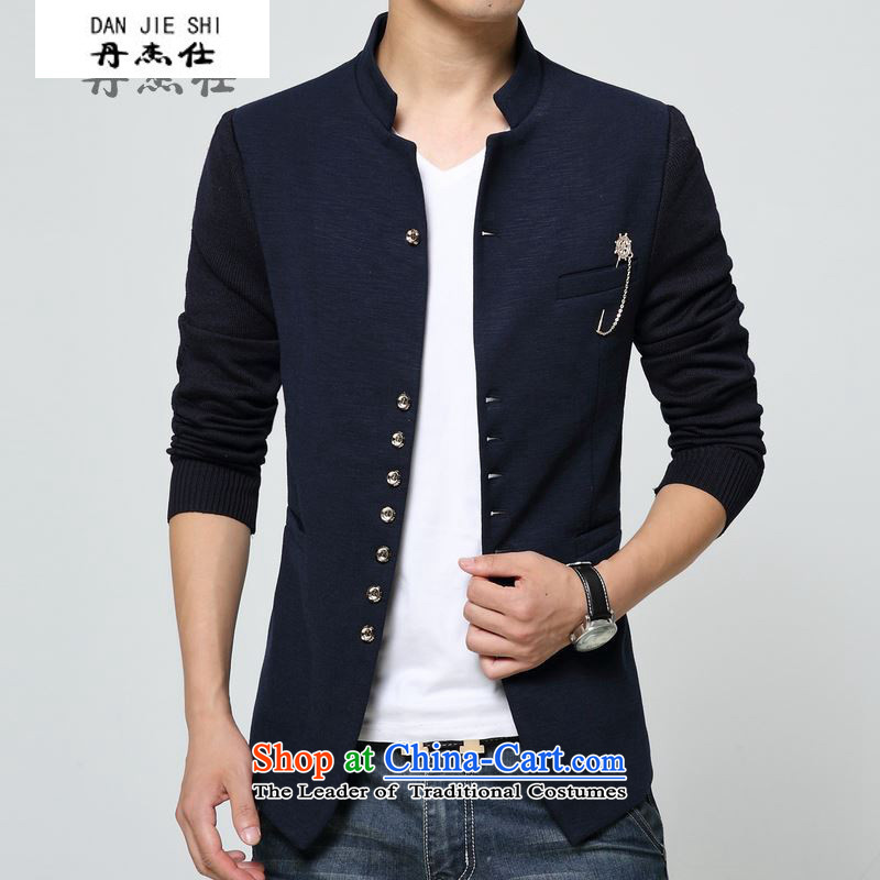 Dan James Spring and Autumn New China wind men Chinese tunic suit for leisure will stand collar jacket coat Male Blue Sau San 3XL 1388