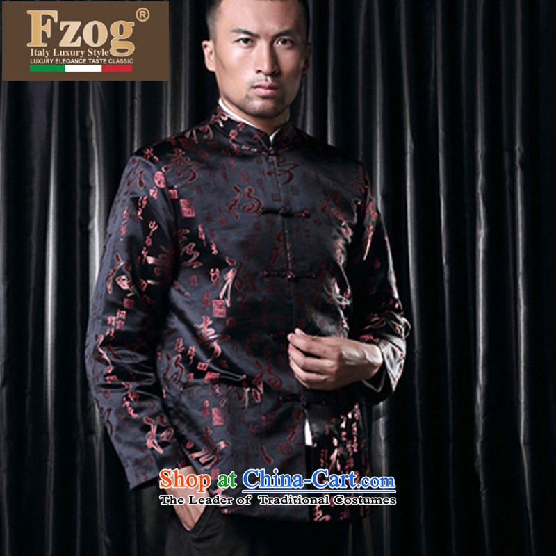 Phaedo of FZOG_ autumn and winter new stylish stamp Men's Mock-Neck China wind up. The older Shou-black聽XXXXL Tang