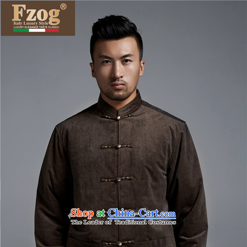 Phaedo Grid Name FZOG/ ethnic costumes China wind men's jackets autumn and winter in warm and comfortable old age long-sleeved brown Tang dynasty?XL