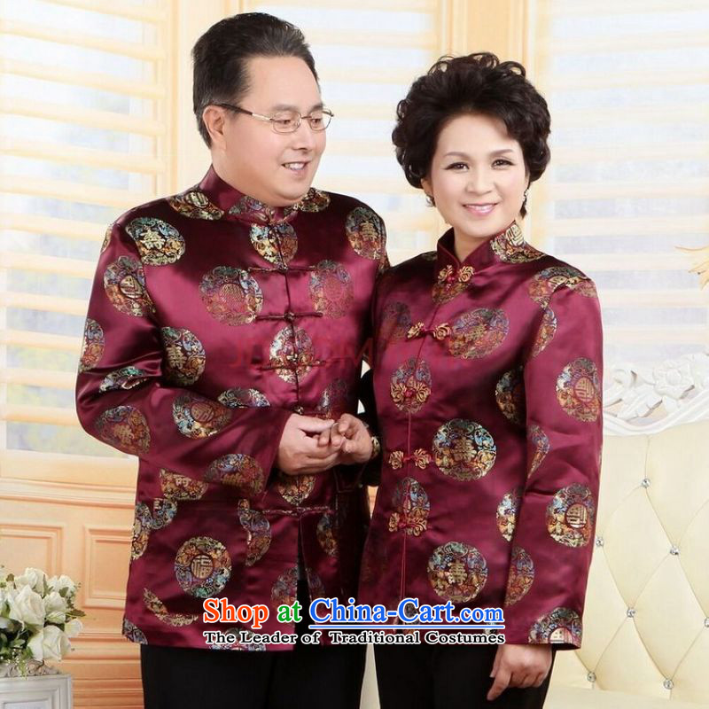 Ms Au King Mansion to Fall/Winter Collections of older persons in the Tang dynasty couples men long-sleeved birthday too Shou Chinese Dress elderly woman's robe?XXL