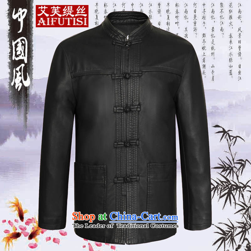 Hiv to economy爄n autumn and winter 2015 population of older men in Tang Dynasty long version of Korea Neck Jacket Leather Black�5