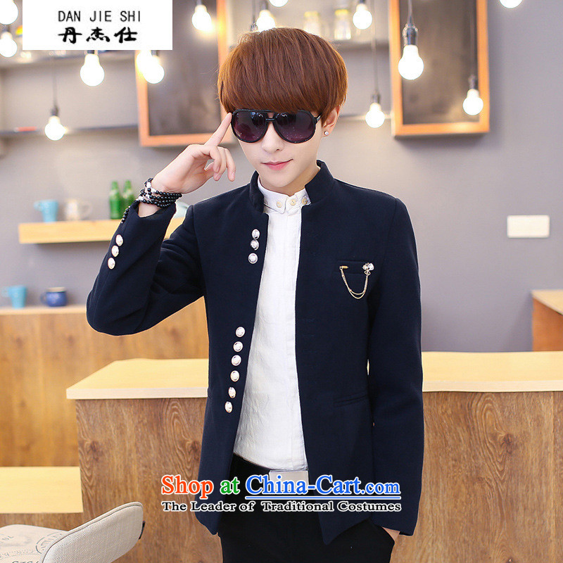 Dan Jie Shi Men pure color Chinese tunic of young men from the Sau San collar single row for jacket casual jacket blue?2XL