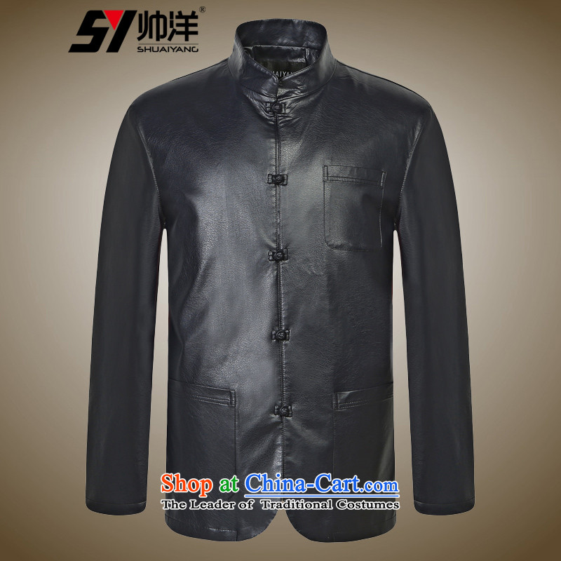 Shuai 2015 autumn and winter Yang Tang dynasty men leather jacket Chinese long-sleeved male Chinese collar PU collar jacket Black聽170