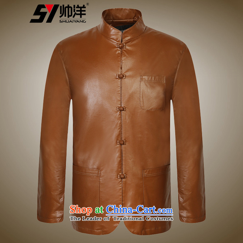 Shuai 2015 autumn and winter Yang Tang dynasty men leather jacket Chinese long-sleeved male Chinese collar PU collar jacket black聽170, yang (Shuai SHUAIYANG) , , , shopping on the Internet