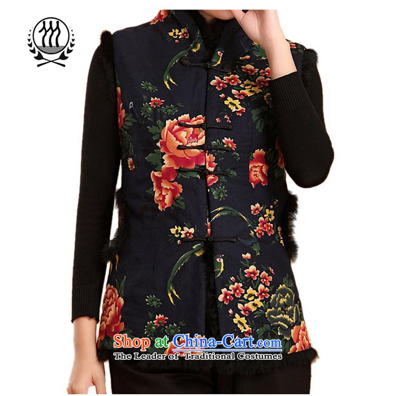 Thre line autumn and winter and the new president folder, a Tang Dynasty cotton in older retro-clip collar Ms. Tang dynasty plus cotton robe?F2065?dark blue womens 4XL