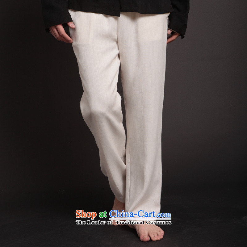 Seventy-Tang Tang pants men casual pants Tencel Men's trousers, pants Chinese loose crisp linens elastic waist white trousers 257 White XL Kung Fu