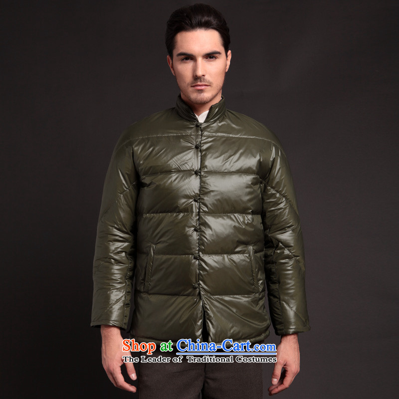 Seventy-tang Chinese high-end down jacket and trendy short of Tang Dynasty upscale downcoat men detained collar feather-jacket for winter 284 Army green?L