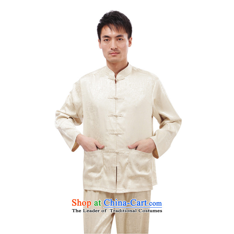 This Autumn Pavilion with Charlene Choi Man Tang Chinese men casual Long-sleeve Tai Chi Kit traditional clothing exercise clothing jogs along the river - long-sleeved T-shirt, beige?4XL
