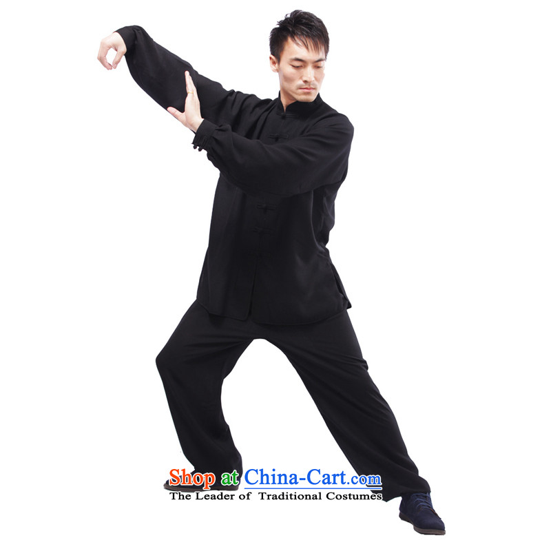 Charlene Choi this cabinet reshuffle is older men summer ethnic Tang dynasty loose kung fu with father exercise clothing Taegeuk service kit - Tai Chi service long-sleeved black XL