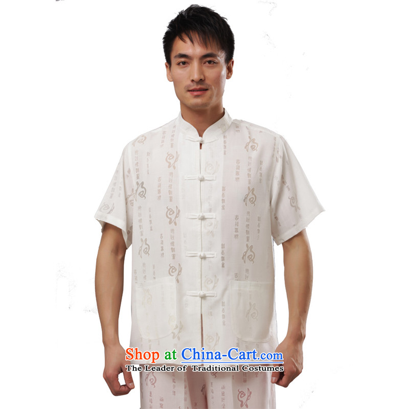 Charlene Choi this summer in relaxd room older kung fu replacing Tang dynasty jogs services cotton linen collar disc buttoned, traditional national dress - Field short-sleeved white short-sleeved?4XL