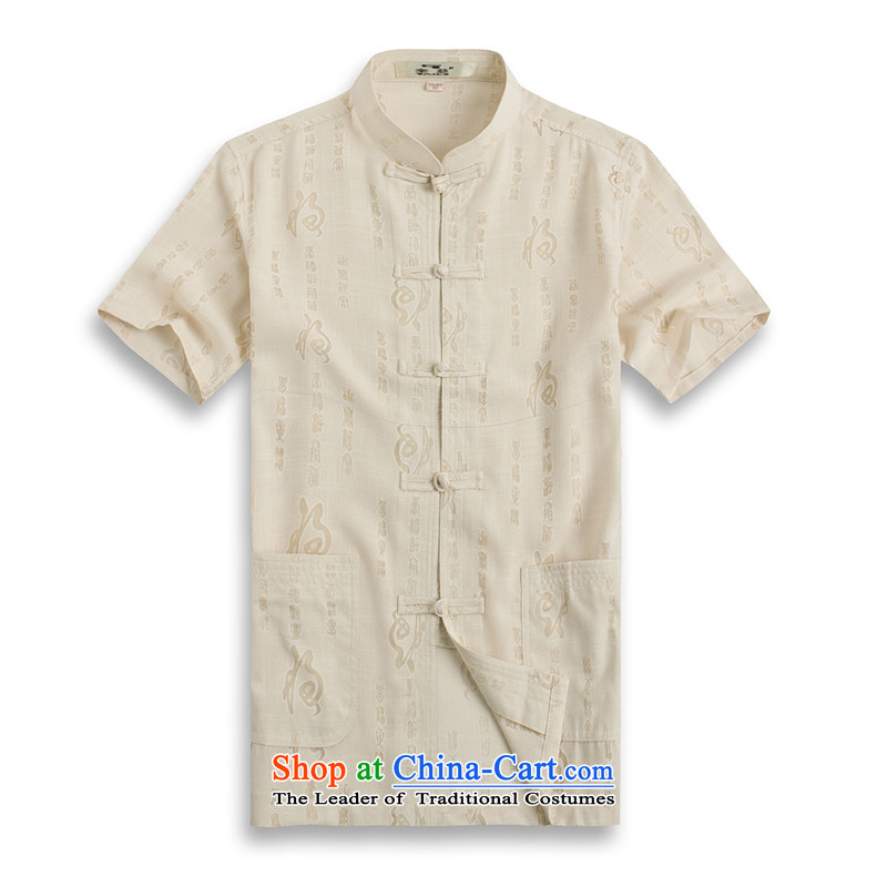 Whig Po 2015 Summer new products spring and summer T-shirt linen breathable wicking China wind short-sleeved T-shirt men Tang Dynasty Tang 1202-6 shirt, beige?M_48_ services