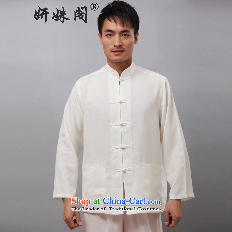 This autumn and The Ascott Yeon boxed loose leisure movement national costume Tang Dynasty Package services practice tai chi jogging clothing - Flat long-sleeved white long-sleeved聽3XL Kit
