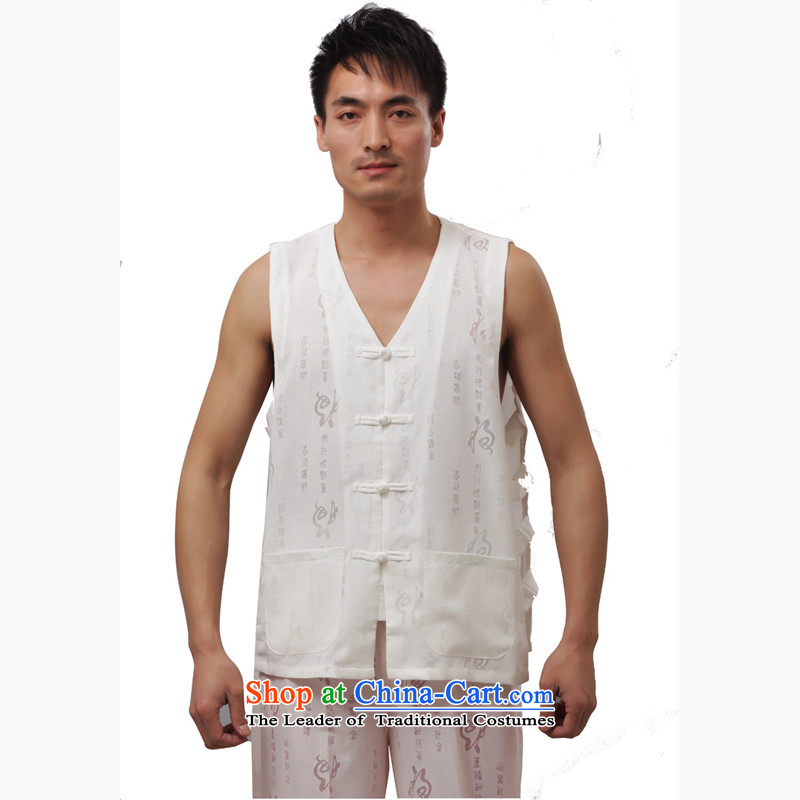 Charlene Choi this cabinet reshuffle is older men Tang dynasty summer�v-neck disc detained men's sleeveless jacket, a relaxd fit t-shirts- field in shoulder, a white short-sleeved T-shirt�2XL