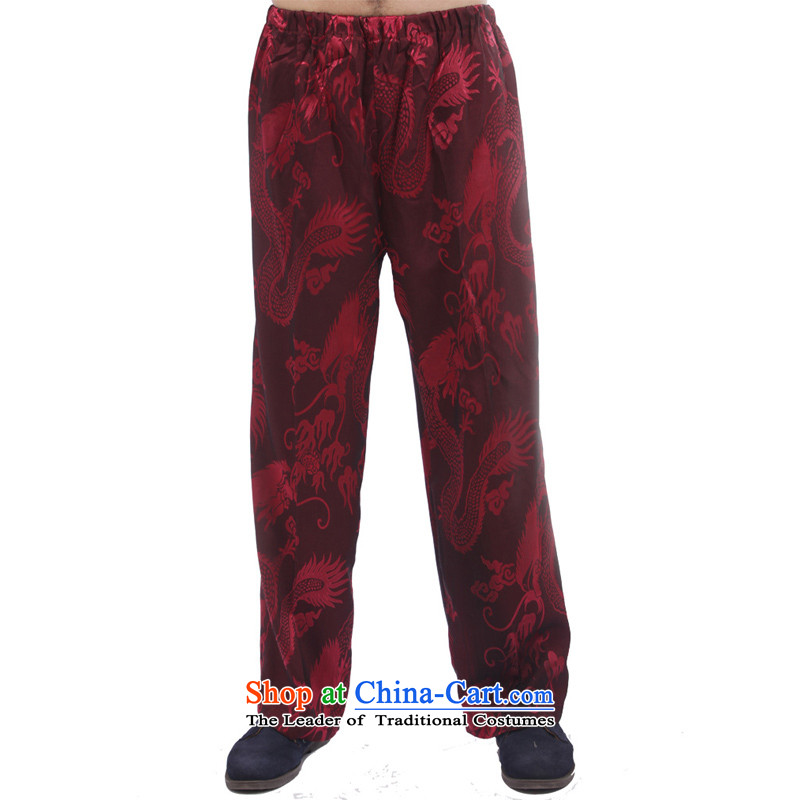 Charlene Choi this pavilion elderly men fall short pants replacing traditional ethnic costume high elastic waist sports pants exercise clothing - Large Dragon pants wine red燲L