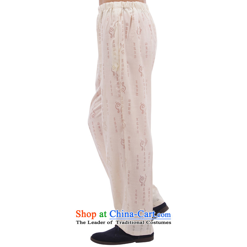 Charlene Choi this pavilion elderly men fall short pants with relaxd casual clothing high elastic jogs around his waist trousers national traditions - Field trousers and cream聽4XL