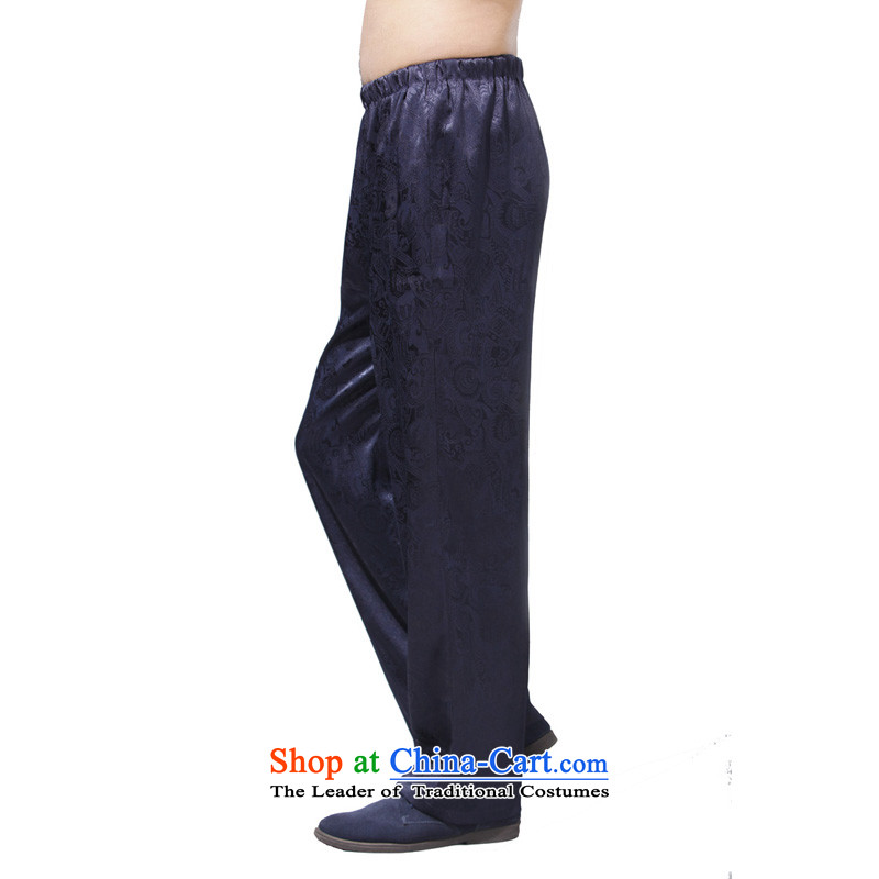 Charlene Choi this cabinet reshuffle is older men Tang dynasty autumn pants traditional ethnic costume loose jogging pant high elastic waist pant - Ching Ming blue trousers L