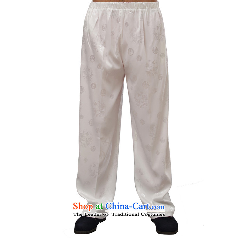 Charlene Choi this cabinet reshuffle is older men fall pants traditional national dress casual pants jogs loose elastic waist pant - Round lung pants White 4XL