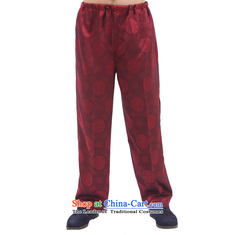 Charlene Choi in the autumn of this pavilion older men Tang Gown of ethnic elastic waist trousers high jogs trousers and comfortable relaxd men's trousers, pants - Round-hi wine red聽2XL