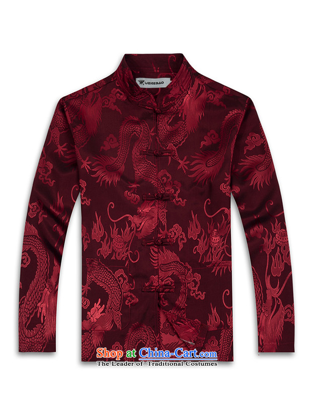 Spring 2015 new products from Vigers Po China wind long-sleeved shirt men Tang dynasty T-shirt stylish silk shirts red XXL Tang services