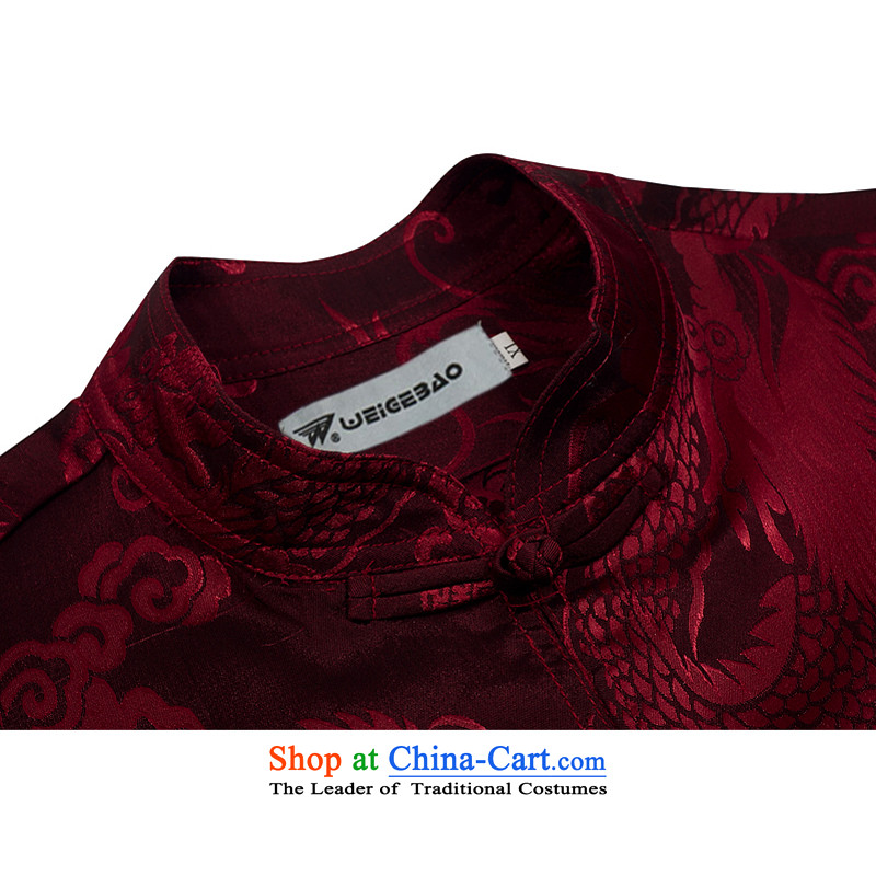 Spring 2015 new products from Vigers Po China wind long-sleeved shirt men Tang dynasty T-shirt stylish silk shirts red XXL, Tang Services ofa fruit , , , shopping on the Internet