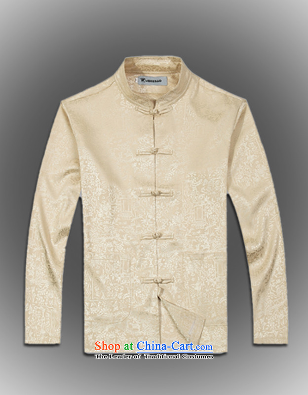Internet recruitment Certification 2015 spawned spring new products from Vigers Po China wind long-sleeved silk Tang dynasty men t-shirt聽T-shirt stylish shirt, beige聽L service Tang