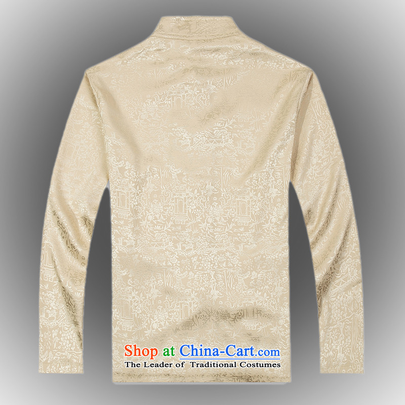 Internet recruitment Certification 2015 spawned spring new products from Vigers Po China wind long-sleeved silk Tang dynasty men t-shirt聽T-shirt stylish shirt, beige聽L service Tang federal core Chai Lang , , , shopping on the Internet