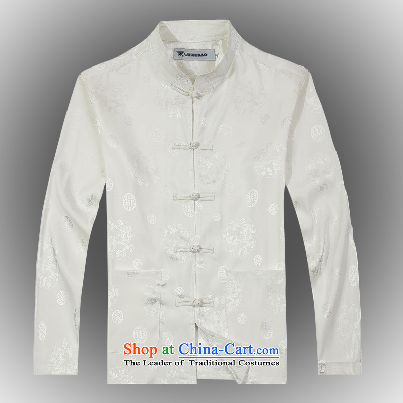 Spring 2015 new products from Vigers Po China wind long-sleeved Tang dynasty silk shirt?T-shirts men stylish white shirt services Tang?XL