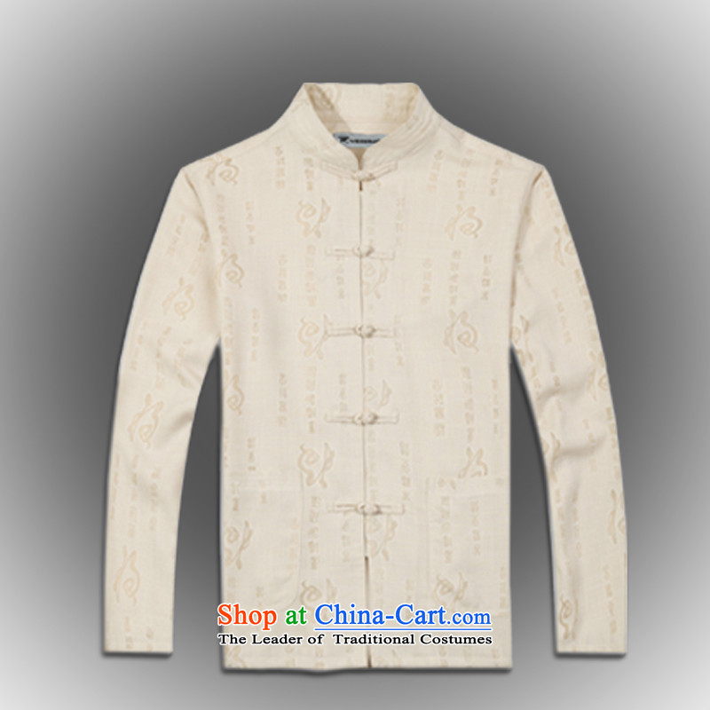 Whig Po?Spring 2015 new products China wind long-sleeved shirt men Tang dynasty?T-shirt linen stylish shirt B-0114 Tang services beige?M