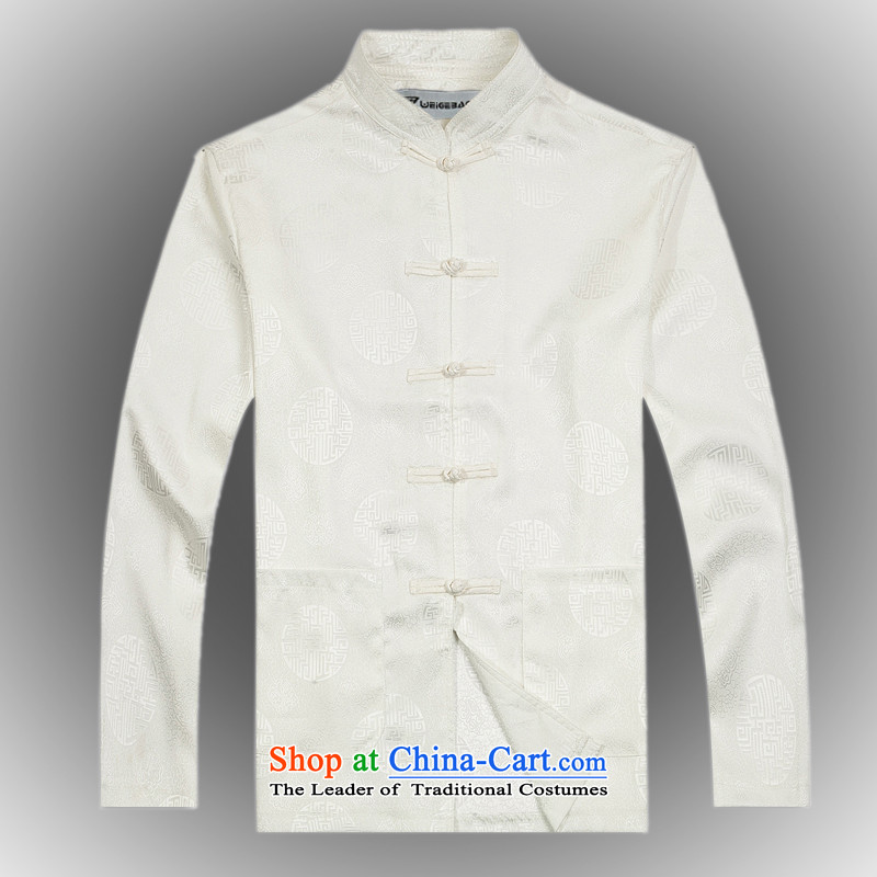 Hot聽Spring 2015 new products from Vigers Po China wind long-sleeved Tang dynasty silk shirt聽T-shirts men stylish white shirt services Tang聽XL