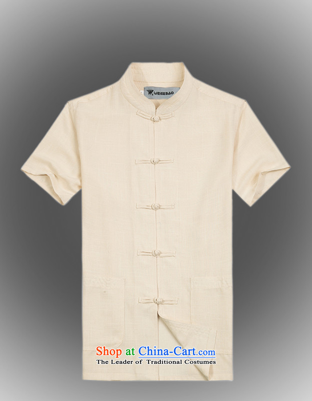 Whig Po 2015 Summer New Products Linen cool breathability wicking China wind short-sleeved T-shirt men Tang Dynasty Tang B-005 beige?M