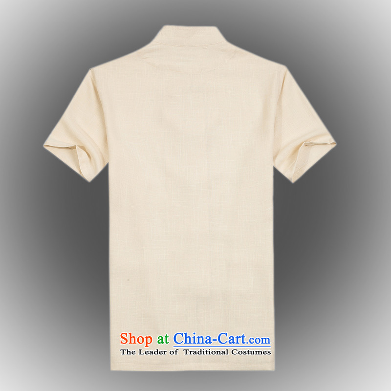 Whig Po 2015 Summer New Products Linen cool breathability wicking China wind short-sleeved T-shirt men Tang Dynasty Tang B-005 beige聽M ofa fruit , , , shopping on the Internet