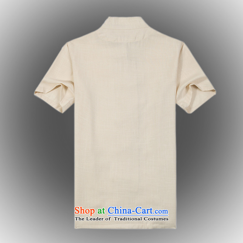 Whig Po 2015 Summer New Products T-shirt linen china wind cool breathability wicking short-sleeved T-shirt men Tang dynasty聽B-001聽beige聽XXL, federal core Chai Lang , , , shopping on the Internet